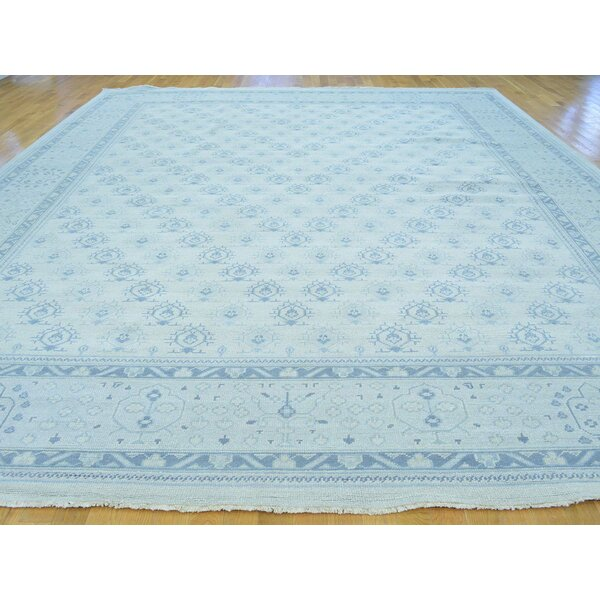 One-of-a-Kind Bearer Turkish Knot Cropped Hand-Knotted Ivory Wool Area Rug by Isabelline