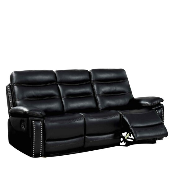 Heitz Contemporary Sofa Leather Manual Wall Hugger Recliner [Red Barrel Studio]
