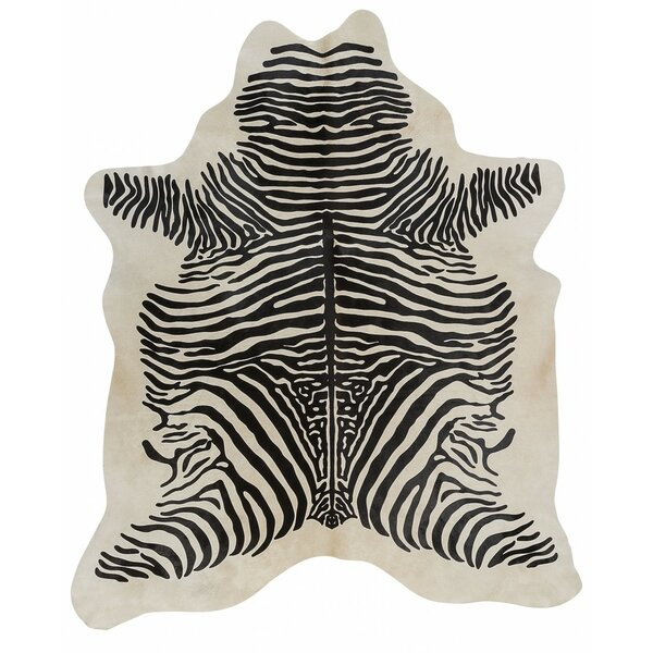 Stenciled Brazilian Cowhide Zebra with Spine Black/White Area Rug by Pergamino