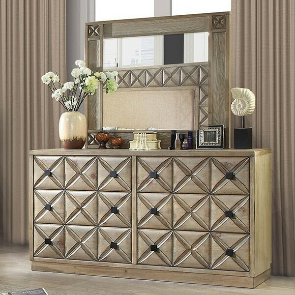 Marilynn 6 Drawer Double Dresser with Mirror by Bungalow Rose
