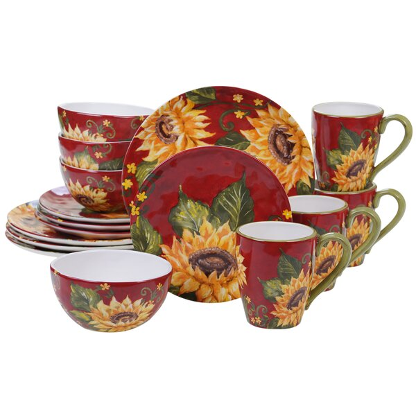 Wilkes Sunflower 16 Piece Dinnerware Set, Service for 4 by August Grove
