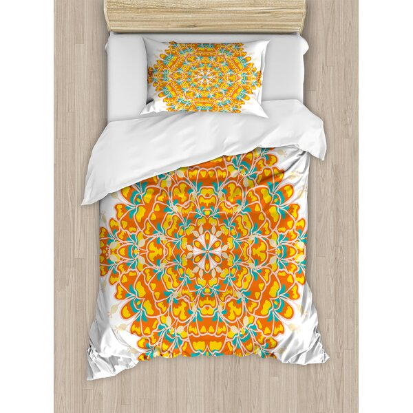 Psychedelic Round Ornament Tropical Plant and Hibiscus Exotic Flower Floral Theme Duvet Set by Ambesonne