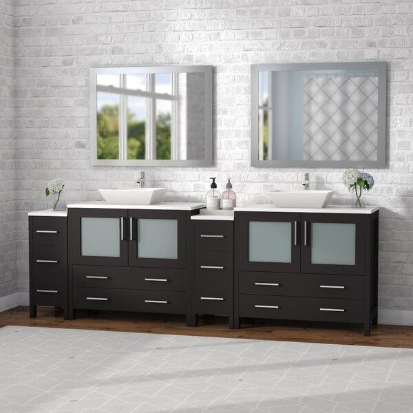 Karson Framed 36 Double Bathroom Vanity Set with Mirror by Wade Logan