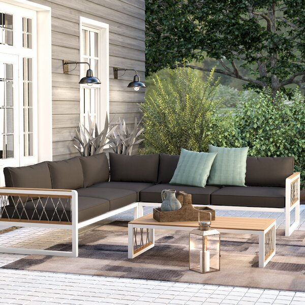 Anoop 4 Piece Rattan Sectional Seating Group with Cushions by Trent Austin Design