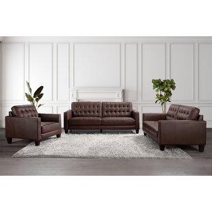 Fahmi 3 Piece Genuine Leather Living Room Set by Latitude Run®