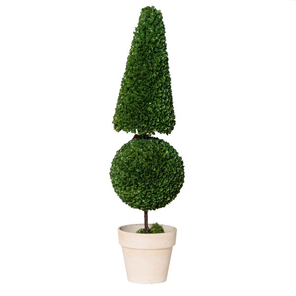Potted Cone and Ball Faux Floor Boxwood Topiary by Brayden Studio