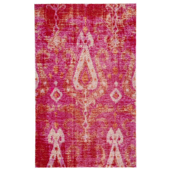Jambi Ikat Pink/Beige Indoor/Outdoor Area Rug by World Menagerie