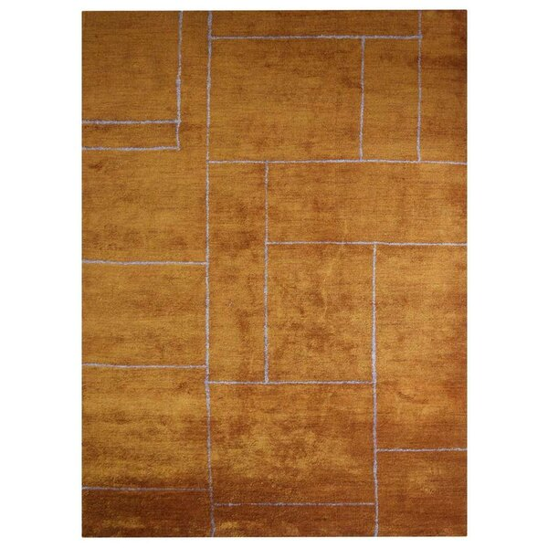 Karlee Gabbeh Hand-Knotted Silk Gold Area Rug by Orren Ellis