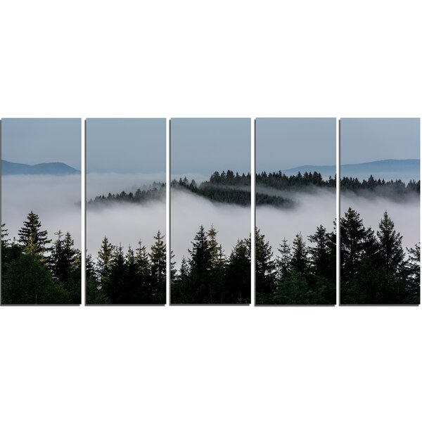 Dark Trees and Fog over Mountains 5 Piece Photographic Print on Wrapped Canvas Set by Design Art