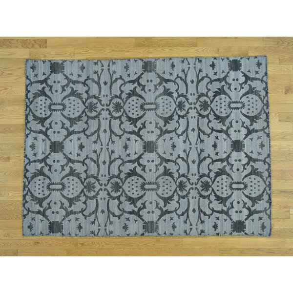 One-of-a-Kind Beth Reversible Handmade Kilim Black Wool Area Rug by Isabelline