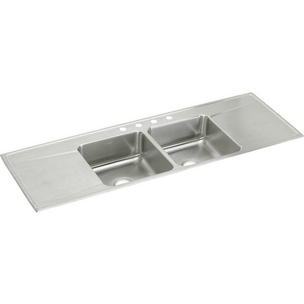 Lustertone 66 L x 22 W Double Basin Drop-in Kitchen Sink