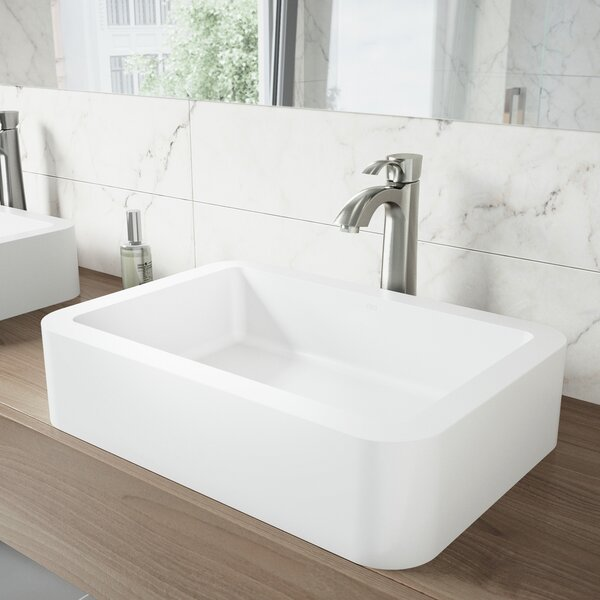 Matte Stone White Stone Rectangular Vessel Bathroom Sink with Faucet