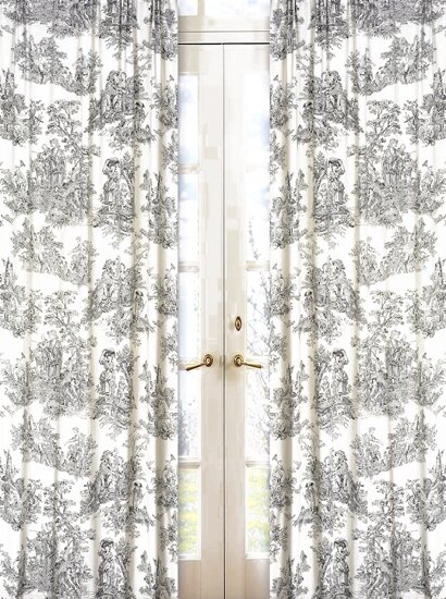 French Toile Semi-Sheer Rod Pocket Single Curtain Panel (Set of 2) by Sweet Jojo Designs