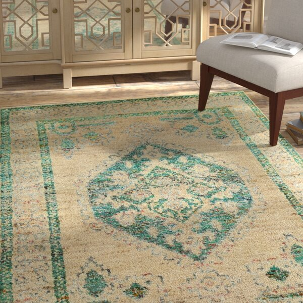 Velsen Hand-Knotted Beige/Emerald Area Rug by Bungalow Rose