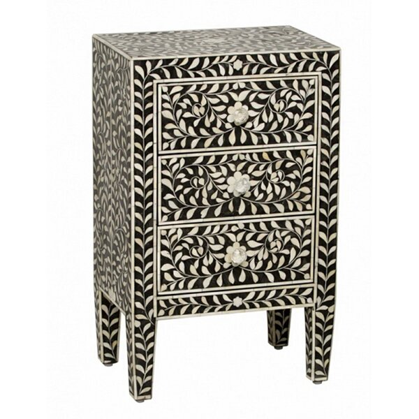 McDuffie Bone Inlaid Bed Side Resin Inlay 3 Drawer Accent Chest