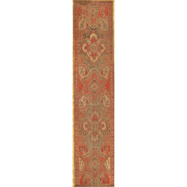 One-of-a-Kind Durella Hand-Knotted Traditional Style Red 3' x 14' Runner Wool Area Rug