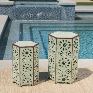 Bales Outdoor Iron 2 Piece End Table Set by Ebern Designs