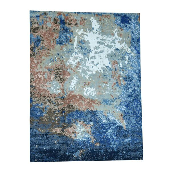 One-of-a-Kind Gaughan Abstract Oriental Hand-Knotted Silk Blue/Gray Area Rug by World Menagerie