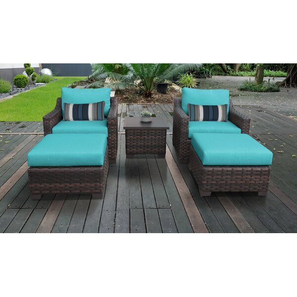 River Brook 5 Piece Outdoor Wicker Patio Furniture Set 05b by kathy ireland Homes & Gardens by TK Classics