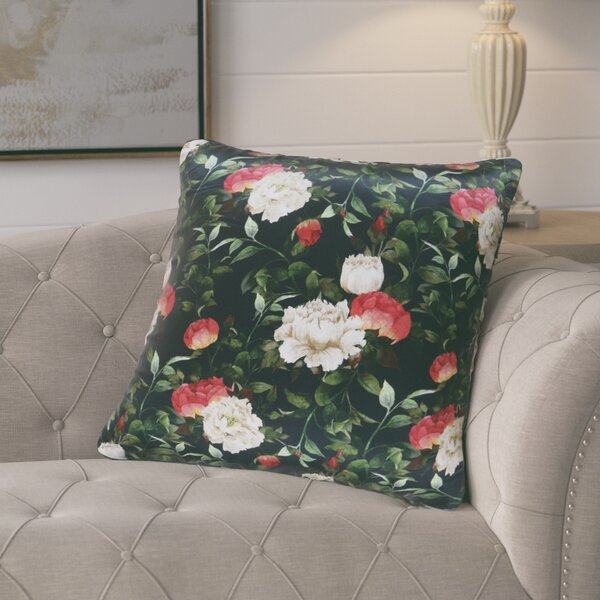 Halton Rose Pattern Printed Silk Cushion Throw Pillow by August Grove