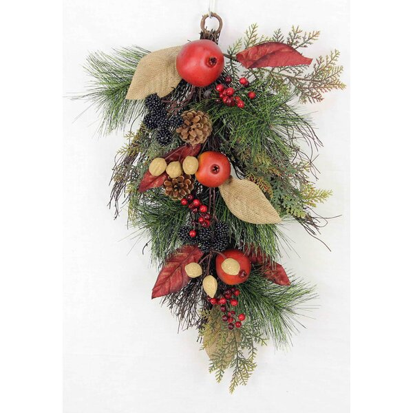 Christmas Teardrop Swag with Faux Pomegranate and Nutmeg by Admired by Nature