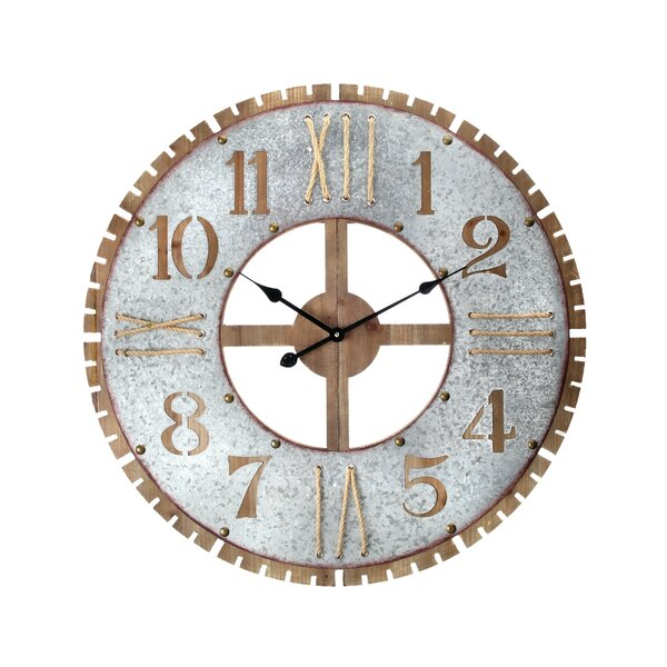 Oversized Tavistock Wood/Metal/Rope 31.5 Wall Clock by Williston Forge