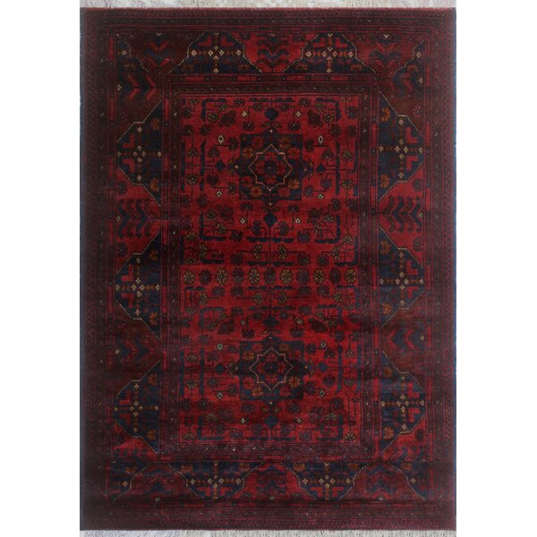 Robby Hand-Knotted Wool Red/Black Area Rug by Bloomsbury Market