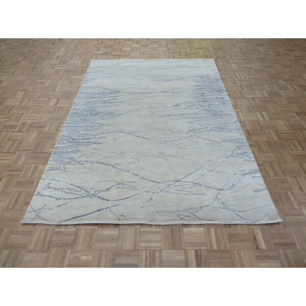 One-of-a-Kind Josephson Modern Hand-Knotted Wool Ivory/Gray Area Rug by Canora Grey