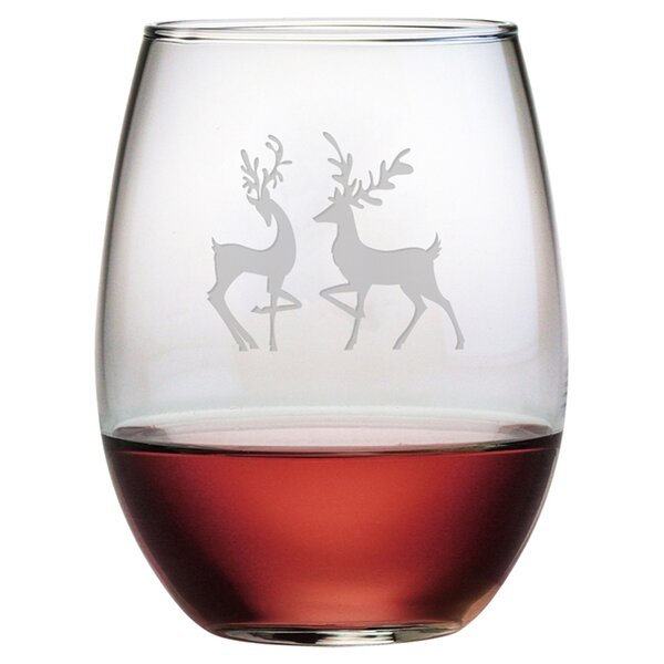Reindeer 21 oz. Stemless Wine Glass (Set of 4) by Susquehanna Glass
