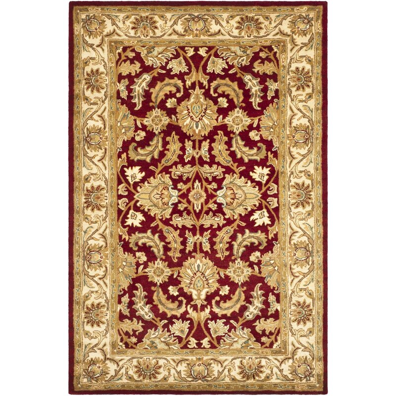 Cranmore red ivory floral area rug reviews birch lane for Red floral area rug