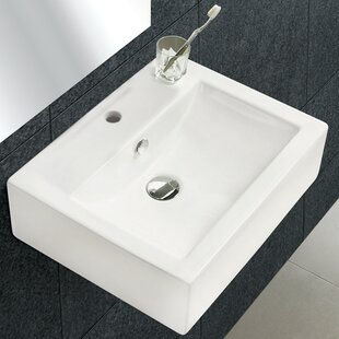 Price comparison Ceramic Rectangular Vessel Bathroom Sink with Overflow By American Imaginations