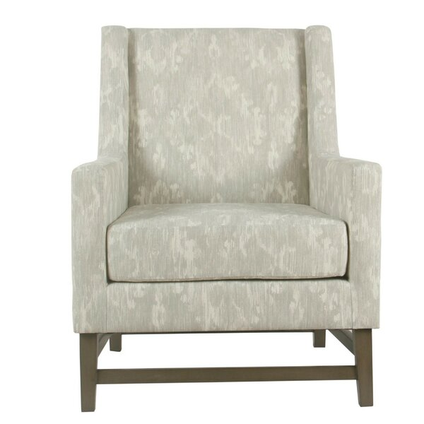 Dickson Damask Pattern Fabric Upholstered Wooden Armchair by Rosdorf Park