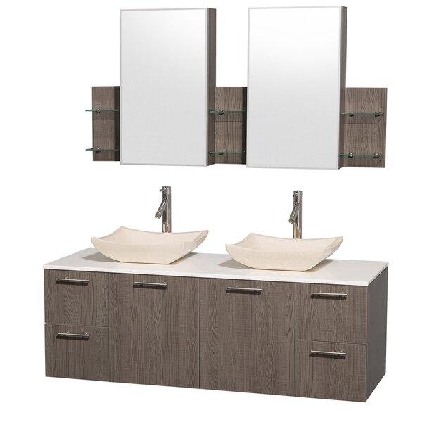 Amare 60 Double Gray Oak Bathroom Vanity Set with