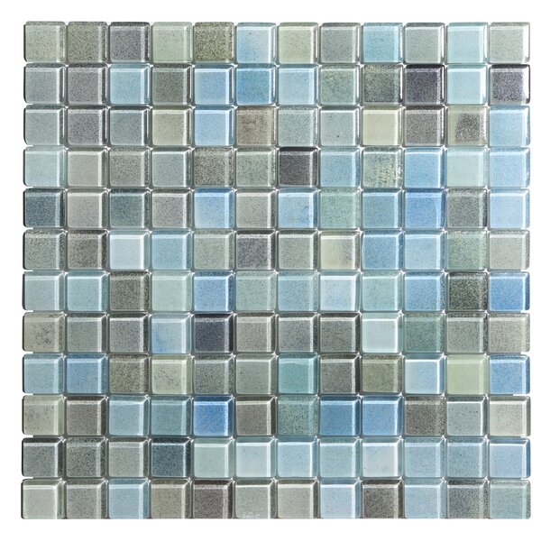 Hi-Fi 1 x 1 Glass Mosaic Tile in Powdered Blue/Sea Green/Beige by Kellani