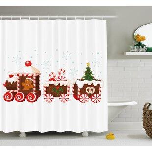 Find Christmas Candy Train Shower Curtain ByThe Holiday Aisle