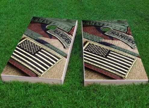 US Army Ranger Patch with American Flag Cornhole Game (Set of 2) by Custom Cornhole Boards