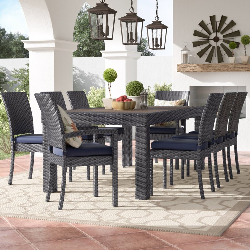 Good Evansville 9 Piece Outdoor Dining Set With Cushion