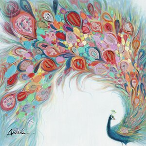 'Peacock Flourish' Painting Wrapped Canvas by Harriet Bee