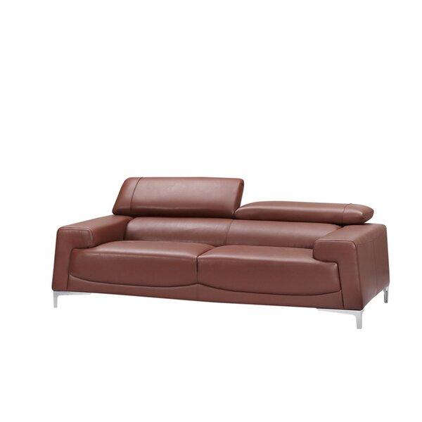Home & Outdoor Tipton Modern Saddle Leather Sofa