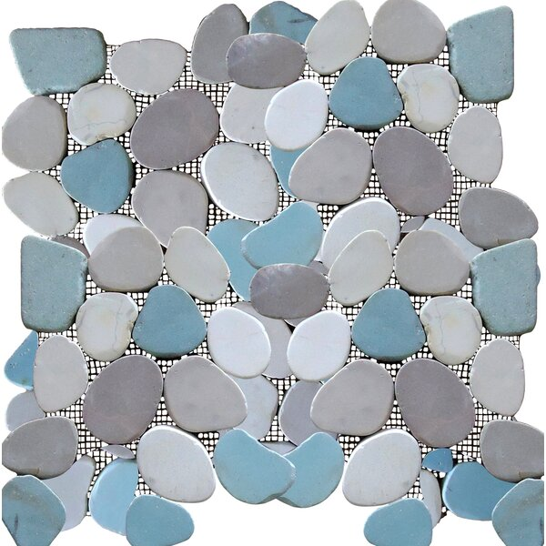 Rocha Random Sized Natural Stone Pebble Tile in Matte Gray/Blue by Mulia Tile