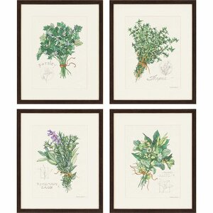 'Herbs' 4 Piece Framed Graphic Art Set by One Allium Way