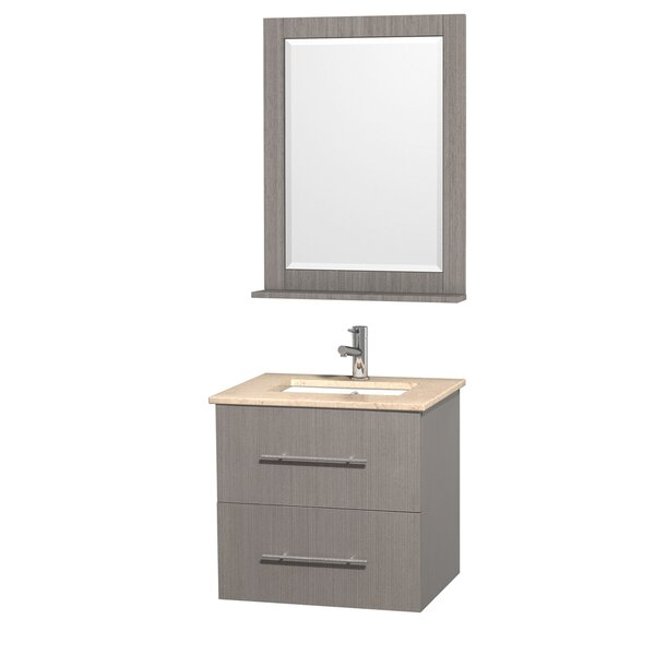 Centra 24 Single Gray Oak Bathroom Vanity Set with Mirror by Wyndham CollectionCentra 24 Single Gray Oak Bathroom Vanity Set with Mirror by Wyndham Collection