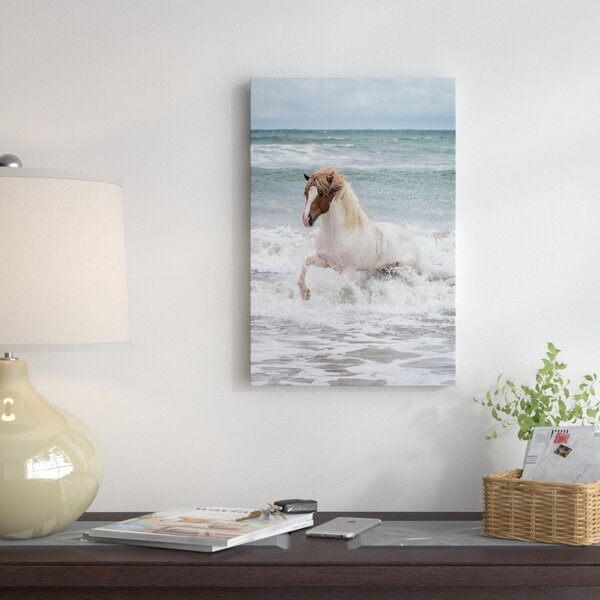 Icelandic Horse in the Sea, Longufjorur Beach, Snaefellsnes Peninsula, Vesturland, Iceland by Panoramic Images Photographic Print on Wrapped Canvas by East Urban Home