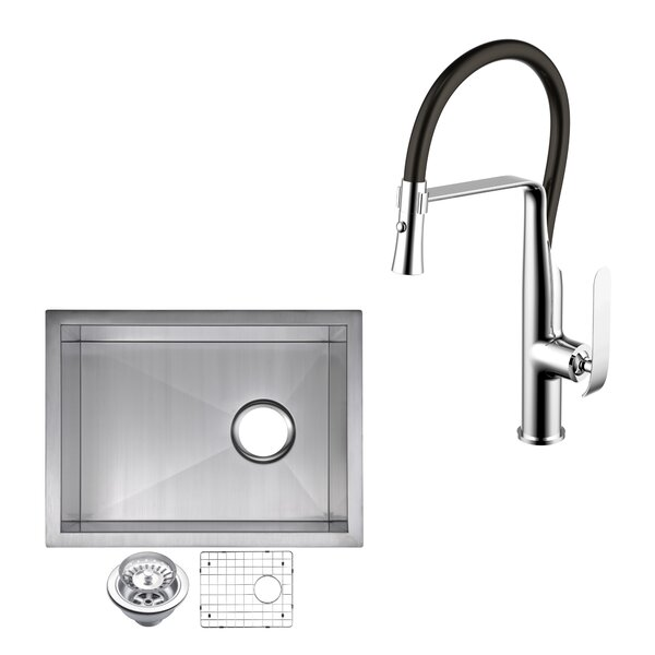All-in-One Stainless Steel 15 L x20 W Undermount Kitchen Sink with Faucet by dCOR design
