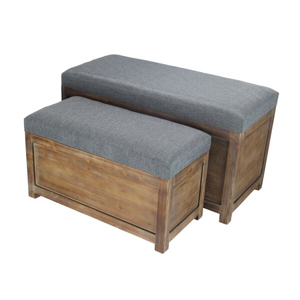 Woodrum 2 Piece Wooden Storage Bench Set by Gracie Oaks