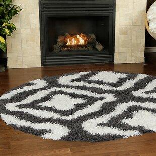 Affordable Konopka Modern Shaggy Dark Gray/White Area Rug ByHouse of Hampton