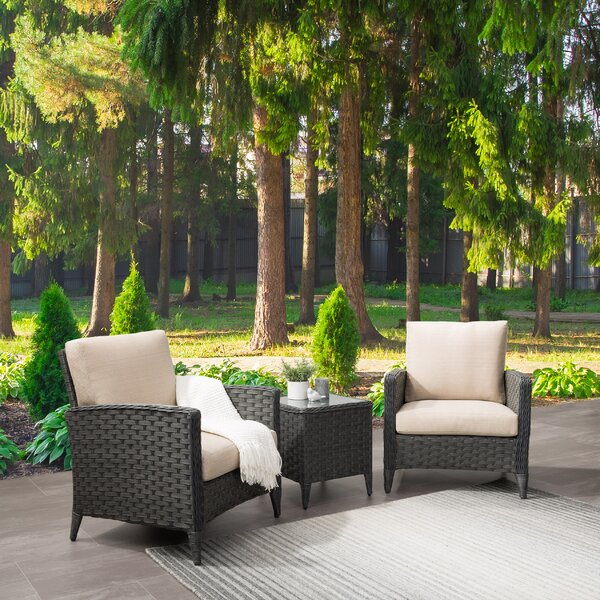 Drucilla Wide 3 Piece Rattan Conversation Set with Cushions by Highland Dunes