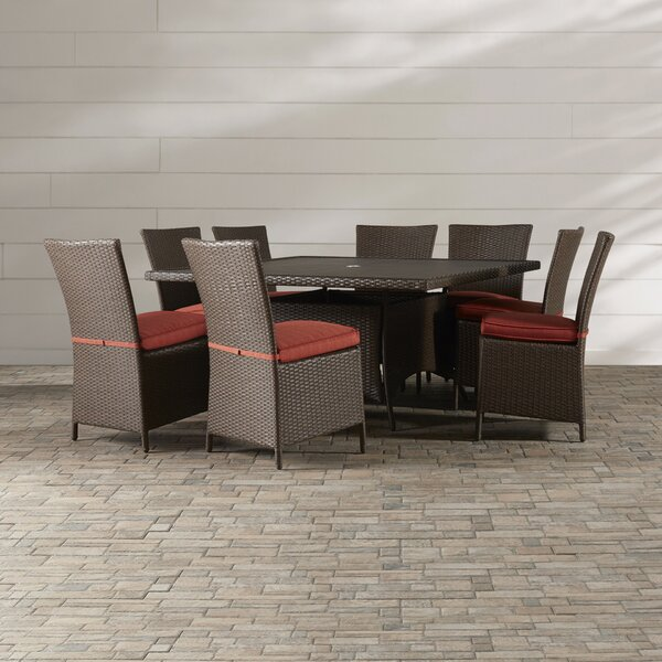 Luciano 9 Piece Dining Set with Cushions by Brayden Studio