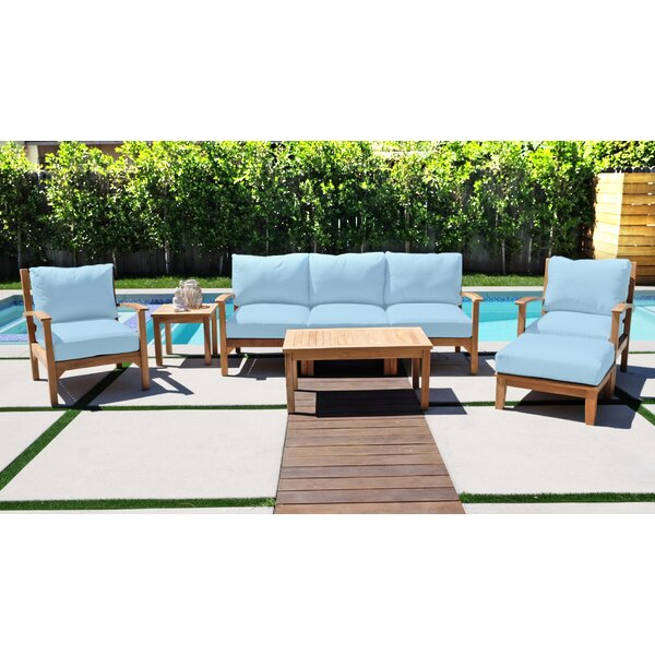 Crescio 8 Piece Teak Sofa Seating Group with Sunbrella Cushions by Foundry Select