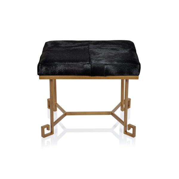 VintageUpholstered leather Ottoman by Fashion N You by Horizon Interseas